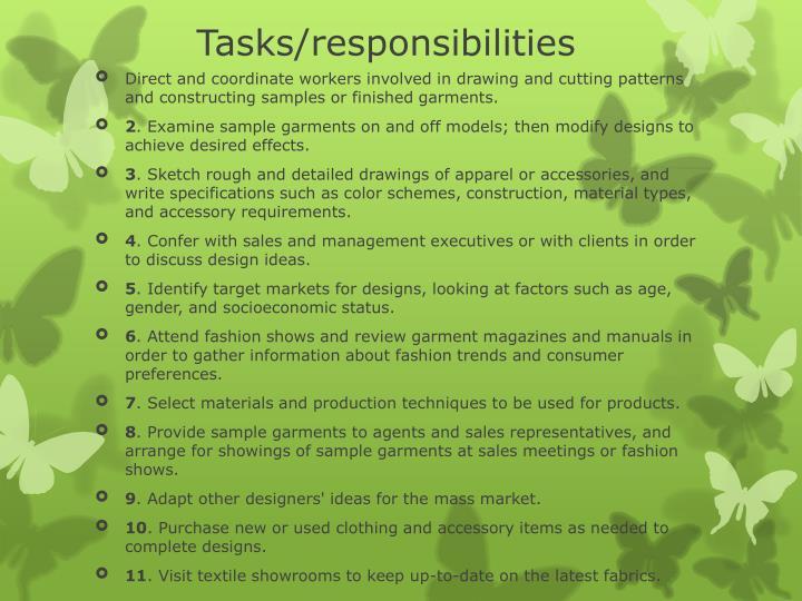 Tasks/responsibilities