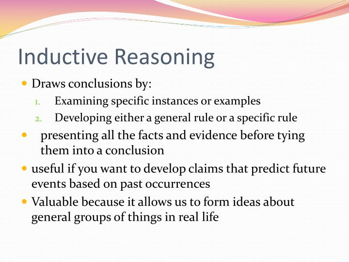 PPT - The Reasoning Process & Inductive Reasoning PowerPoint ...