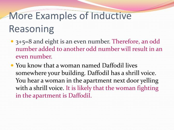 More Examples of Inductive Reasoning