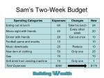 sam s two week budget1