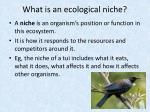 what is an ecological niche