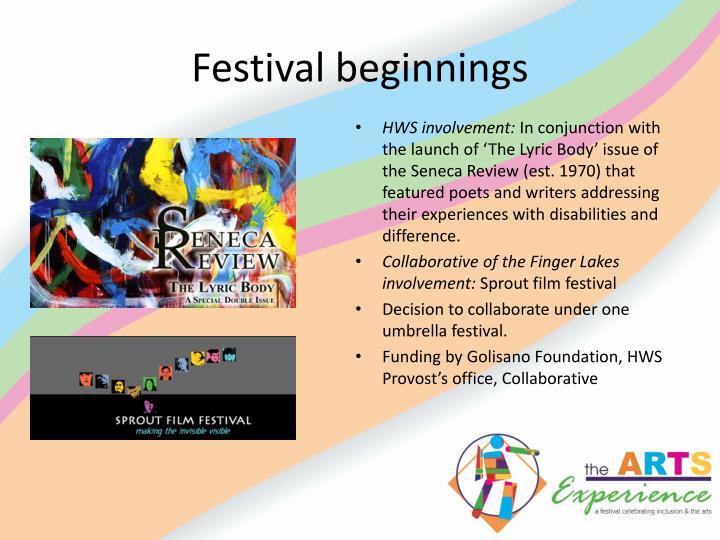 Festival beginnings
