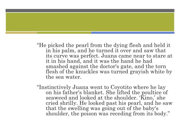 """""""He picked the pearl from the dying flesh and held it in his palm, and he turned it over and saw that its curve was perfect. Juana came near to stare at it in his hand, and it was the hand he had smashed against the doctor's gate, and the torn flesh of the knuckles was turned grayish white by the sea water."""