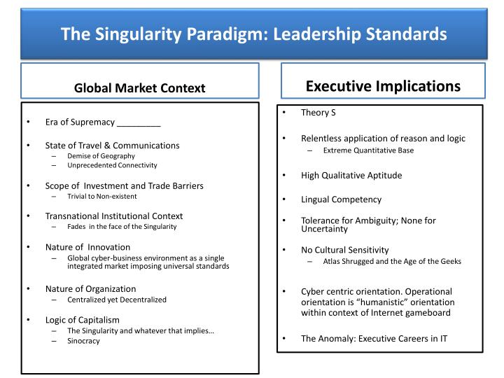 the singularity paradigm leadership standards n.