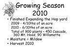 growing season 2010