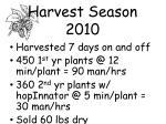 harvest season 2010