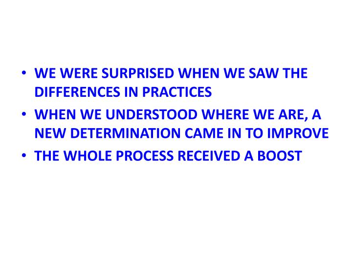 WE WERE SURPRISED WHEN WE SAW THE DIFFERENCES IN PRACTICES