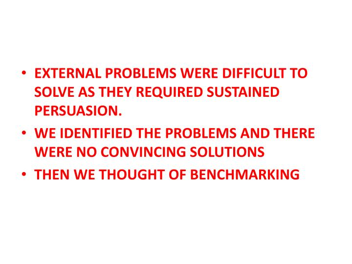 EXTERNAL PROBLEMS WERE DIFFICULT TO SOLVE AS THEY REQUIRED SUSTAINED PERSUASION.