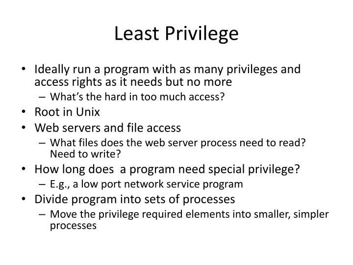 Least Privilege