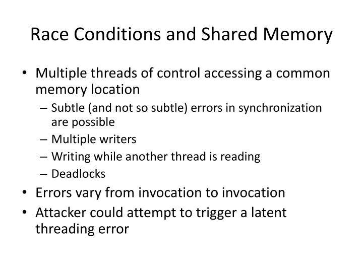 Race Conditions and Shared Memory