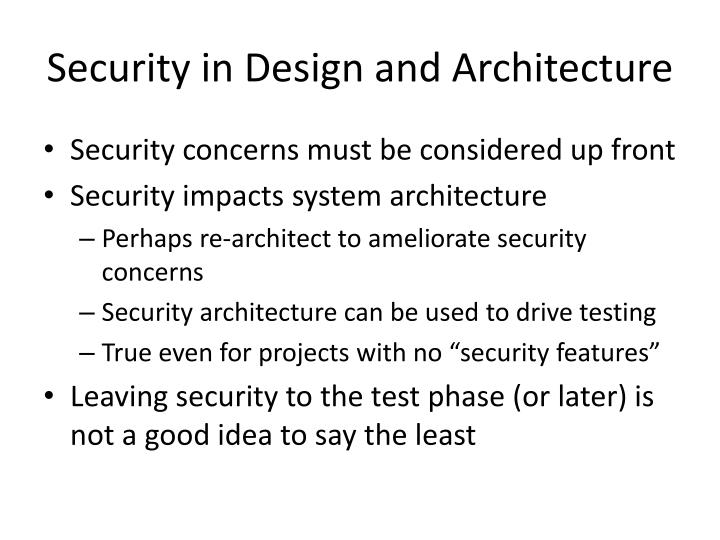 Security in Design and Architecture