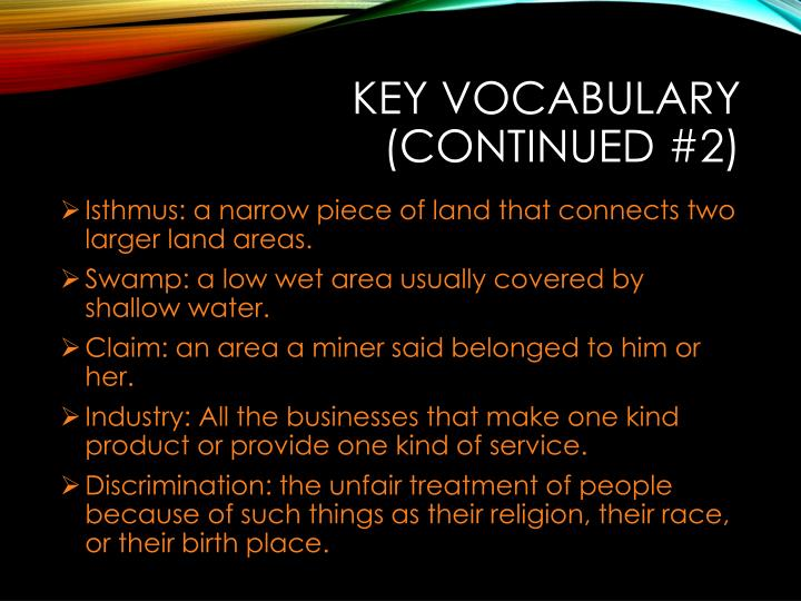 Key Vocabulary (continued #2)