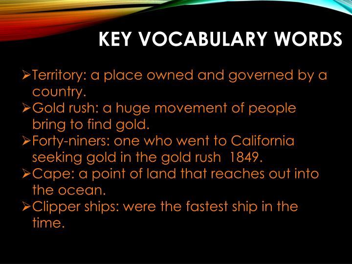 Key vocabulary words