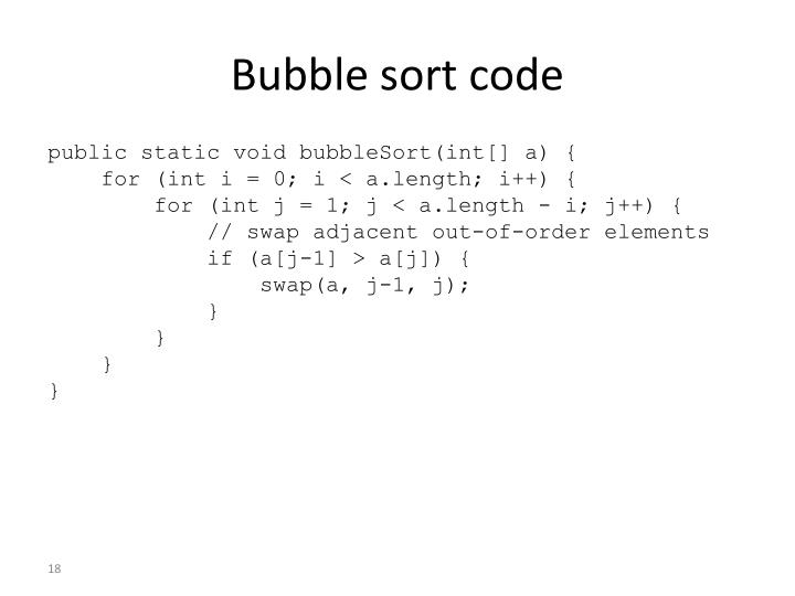 Bubble sort code