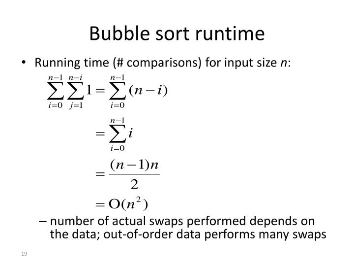 Bubble sort runtime