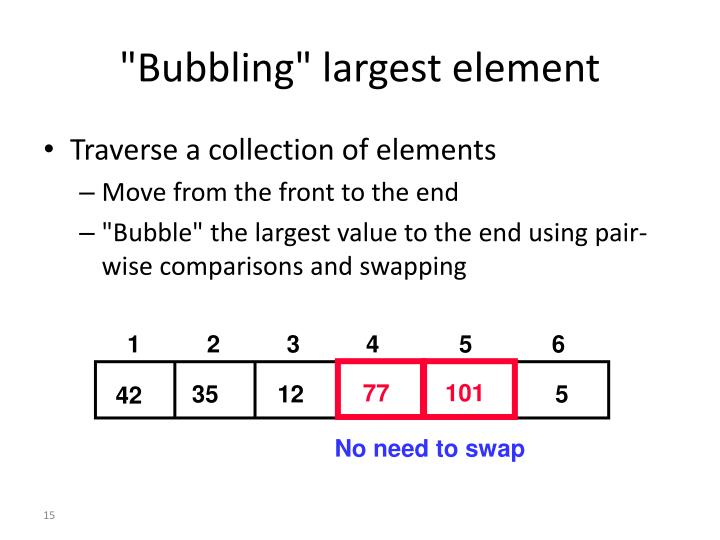 """Bubbling"" largest element"