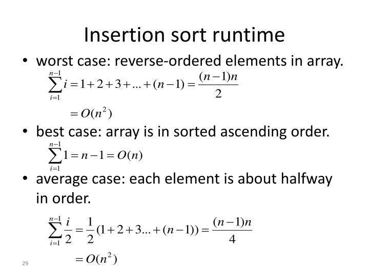 Insertion sort runtime