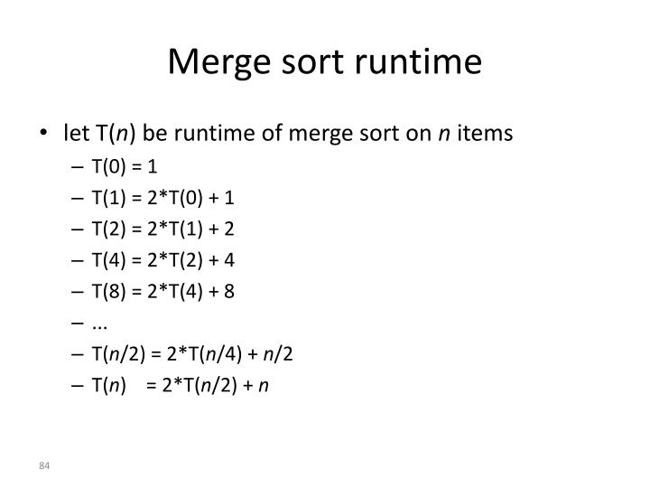 Merge sort runtime