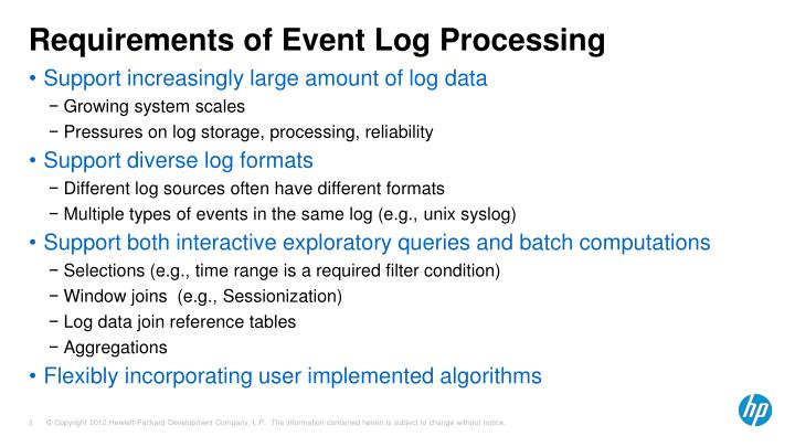 Requirements of event log processing