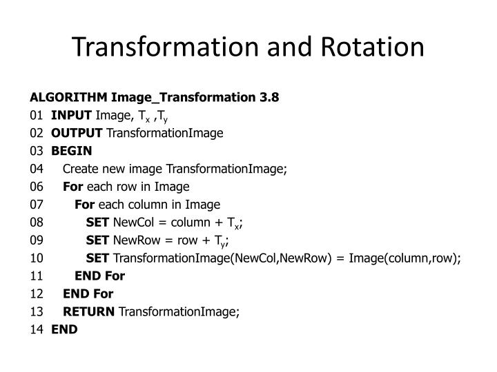 Transformation and Rotation