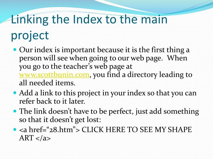Linking the Index to the main project