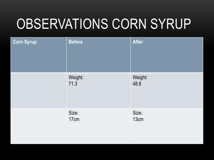 Observations Corn Syrup
