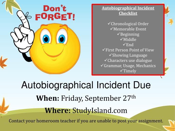 Autobiographical Incident Checklist
