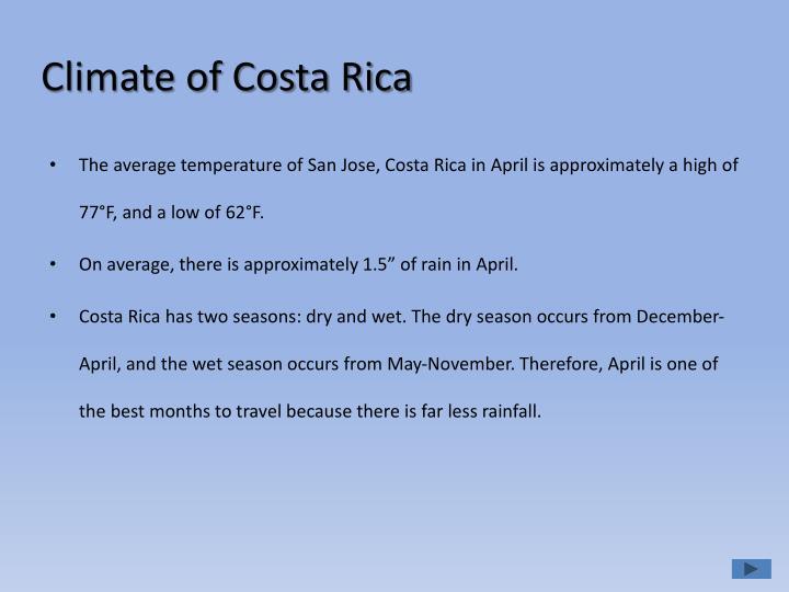 Climate of costa rica