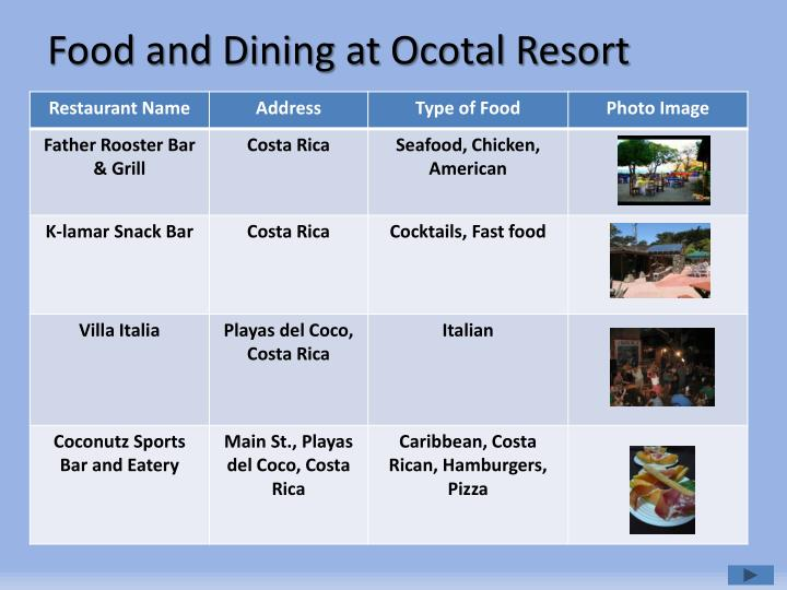 Food and Dining at Ocotal Resort