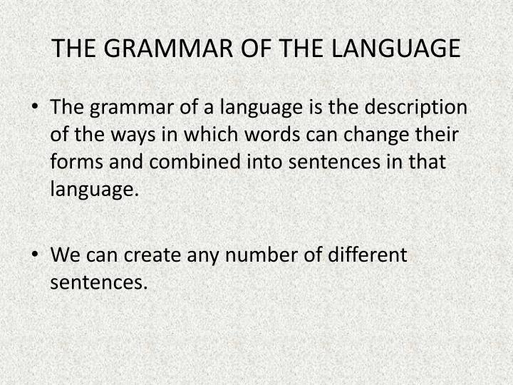 THE GRAMMAR OF THE LANGUAGE