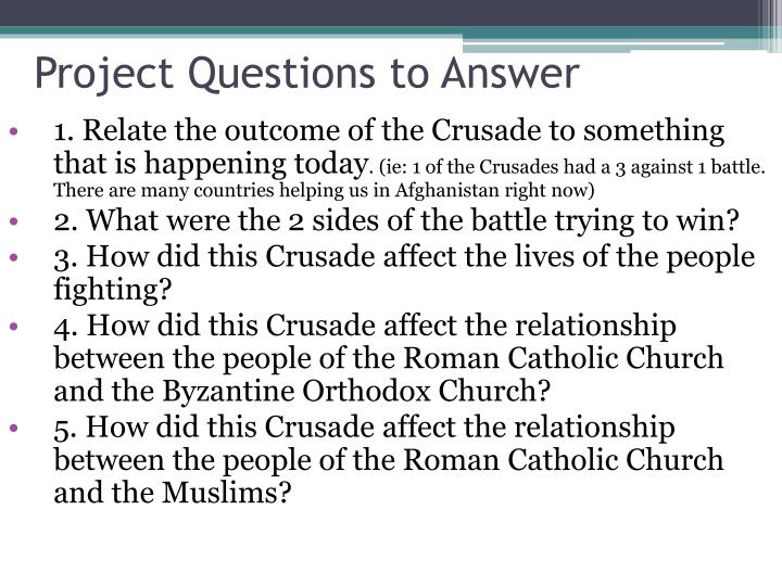 Project Questions to Answer