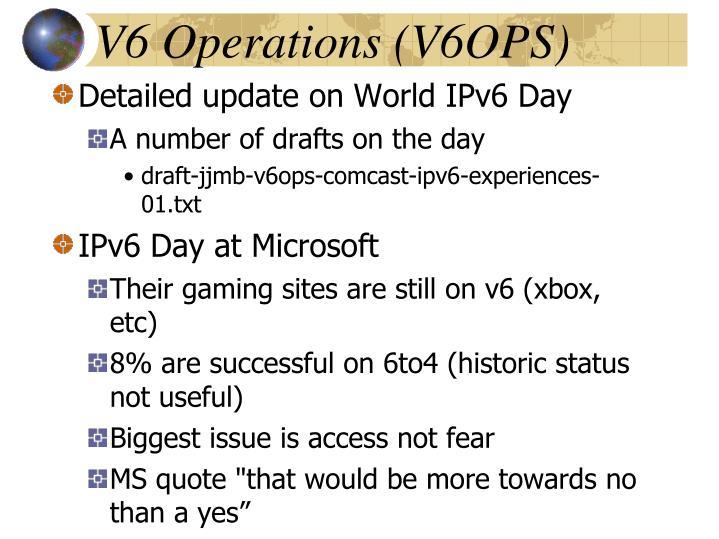 V6 Operations (V6OPS)