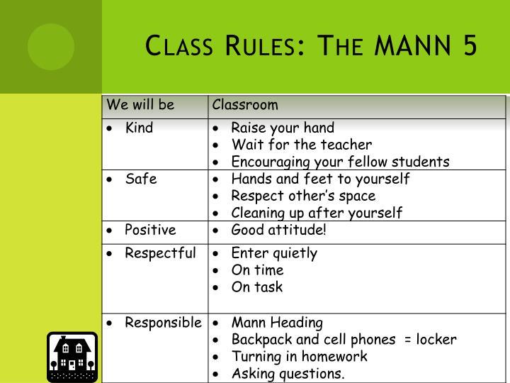 Class Rules: The MANN 5