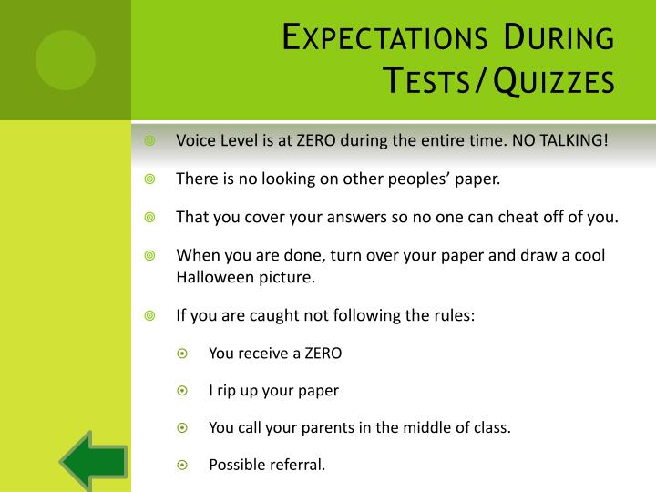 Expectations During Tests/Quizzes