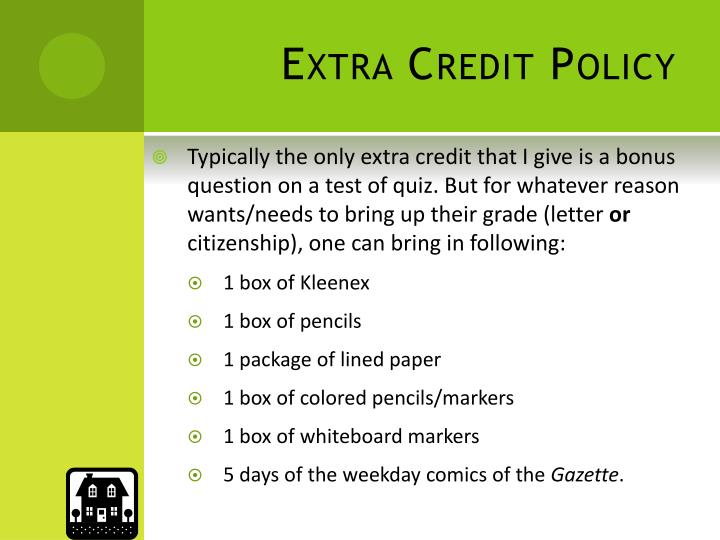 Extra Credit Policy