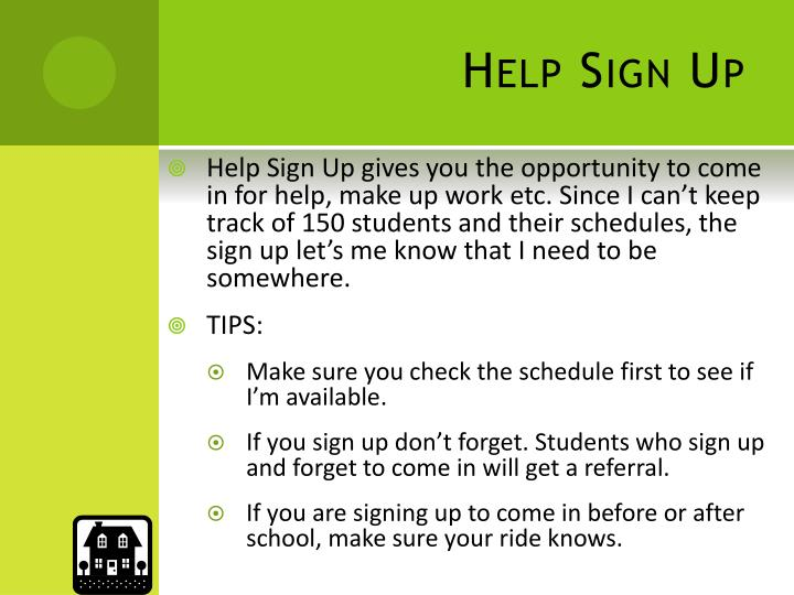 Help Sign Up