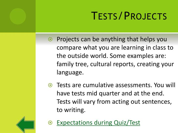 Tests/Projects