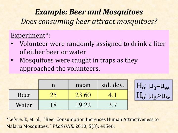 Example: Beer and Mosquitoes