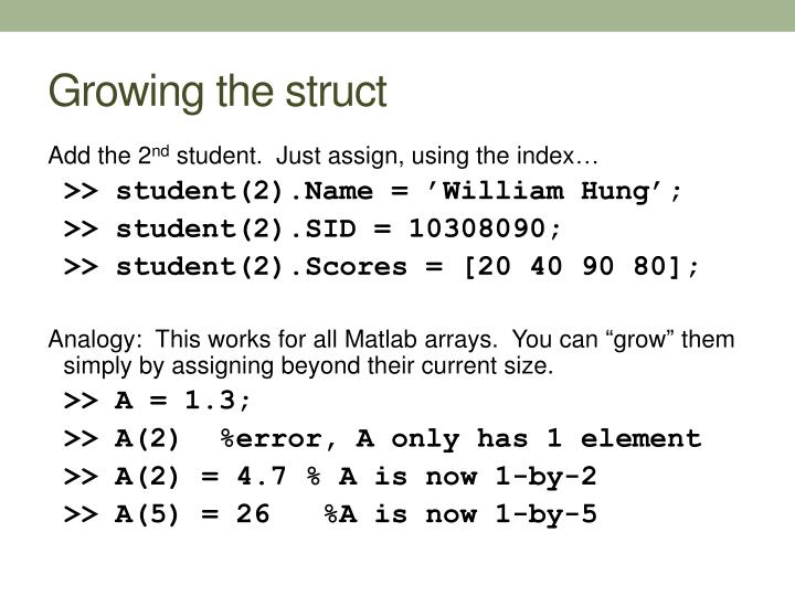 Growing the struct