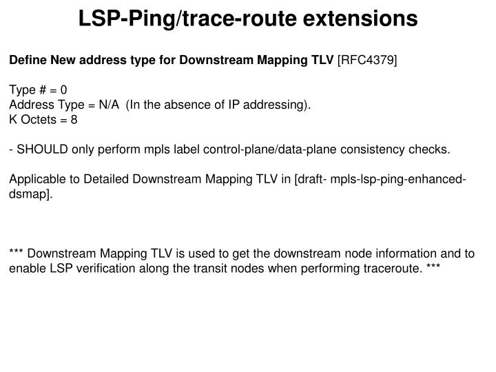 LSP-Ping/trace-route extensions