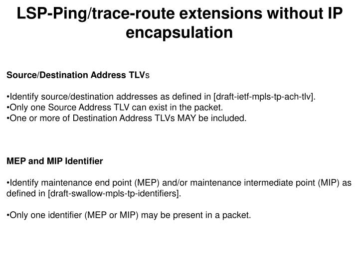 LSP-Ping/trace-route extensions without IP encapsulation