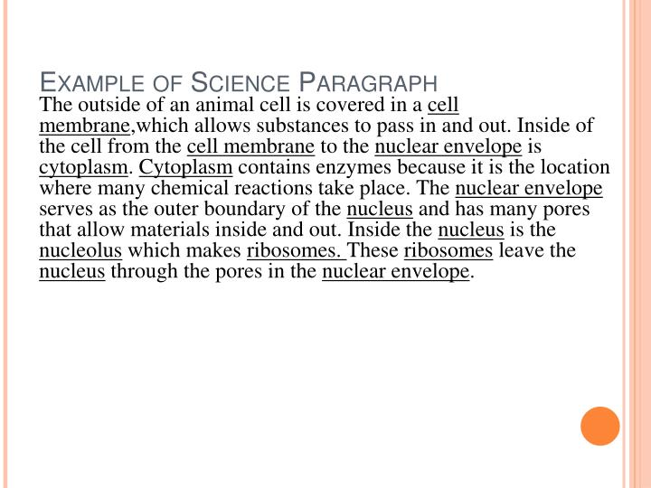 Example of Science Paragraph