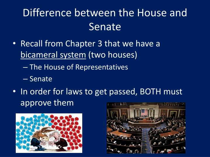 Difference between the house and senate