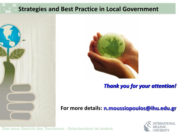 Strategies and Best Practice in Local Government