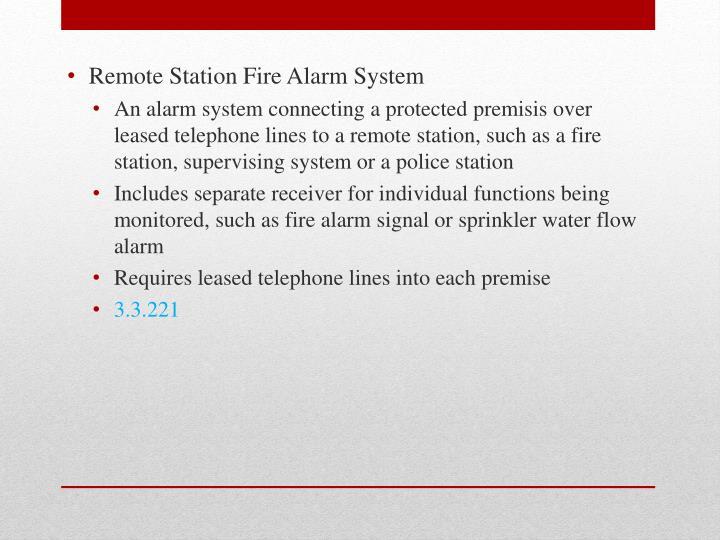 Remote Station Fire Alarm System