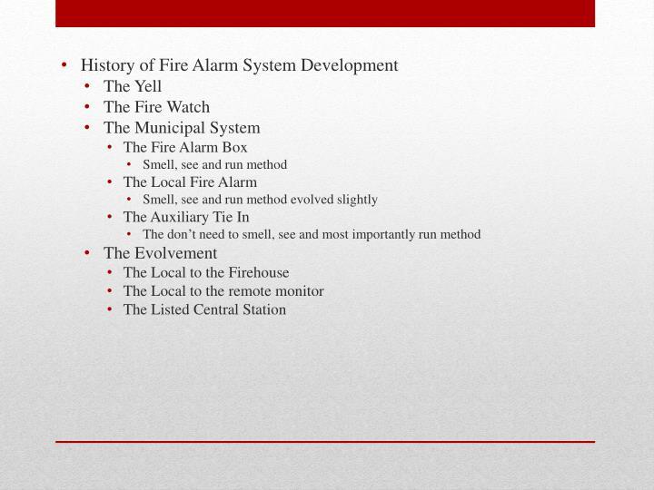 History of Fire Alarm System Development