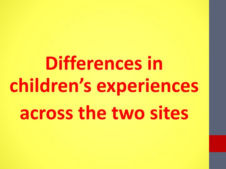 Differences in children's experiences
