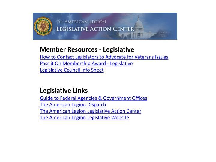 Member Resources - Legislative