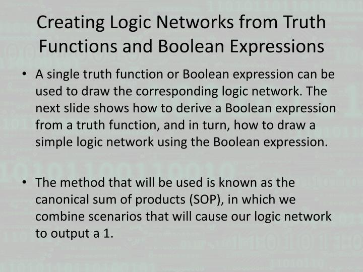 Creating Logic Networks from Truth Functions and Boolean Expressions