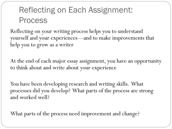 Reflecting on Each Assignment: Process